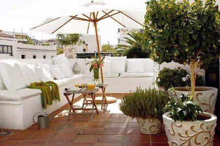 Terraza Decorada En Blanco Terrazas Decoracion Terraza Y