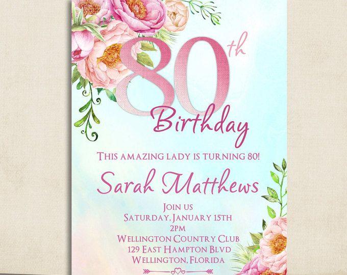 Invitación De Cumpleaños 80 Invitación Del Cumpleaños