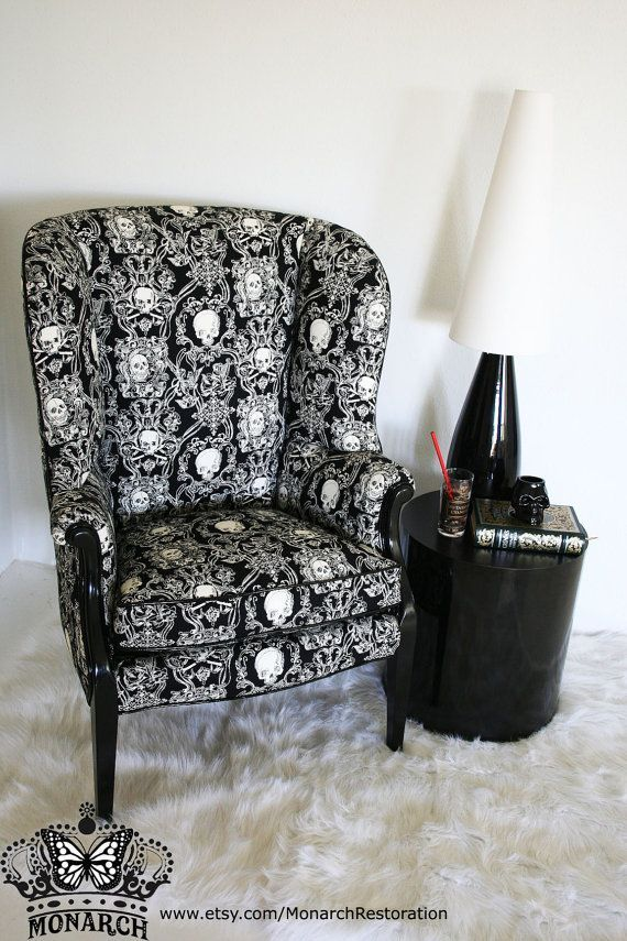 Elegant Gothic Skull Brocade Wing Back Vintage Victorian Parlor Chair    Make An Offer Gothic Furniture