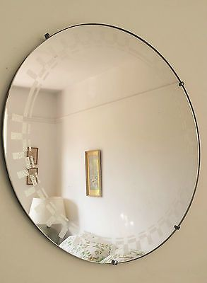Vtg Retro Antique Frameless Art Deco Etched Design Round Wall Hall Mirror 1930 View More On The Link Http Www Zep Etched Designs Art Deco Hall Mirrors