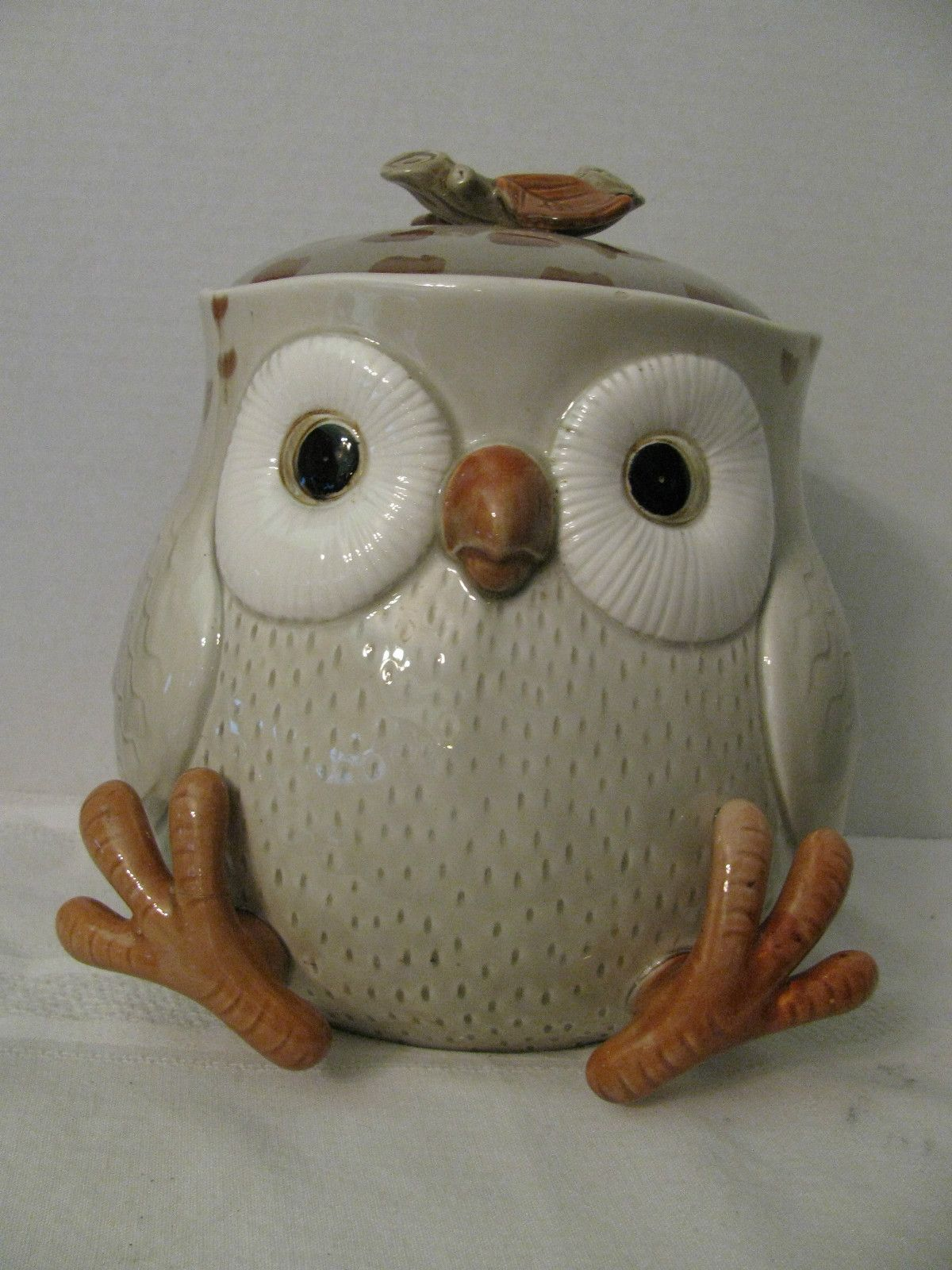 Huge Glass Cookie Jar Fitz And Floyd Owl Cookie Jar Collectible Vintage Big Eyes