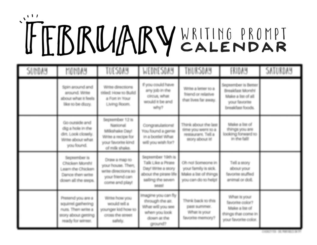 February Writing Prompts Free February Writing Prompt Calendar The Homeschool Resource Room March Writing Prompts January Writing Prompts October Writing Prompts [ 816 x 1056 Pixel ]