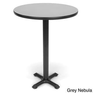 30 Inch Round X Style Base Cafe Table Grey Finish Gray Ofm