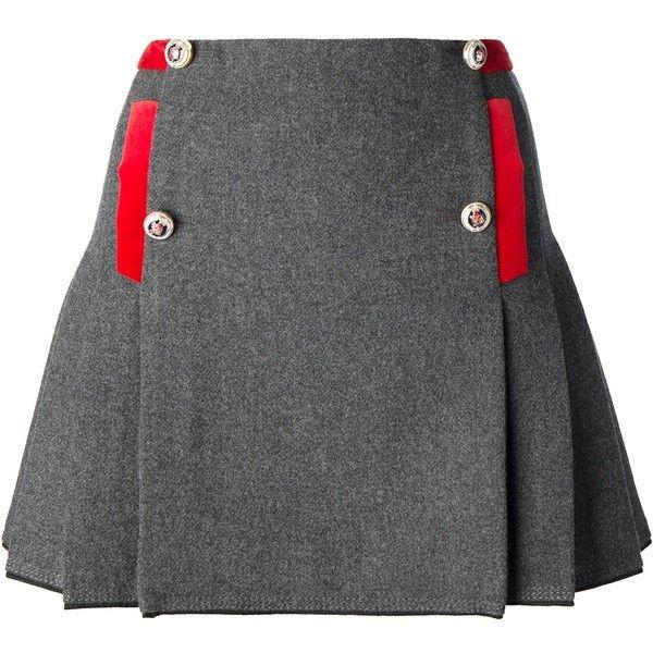 FAY pleated miniskirt (1,090 MYR) ❤ liked on Polyvore featuring skirts, mini skirts, grey pleated skirt, mini skirt, gray pleated skirt, grey skirt and short mini skirts