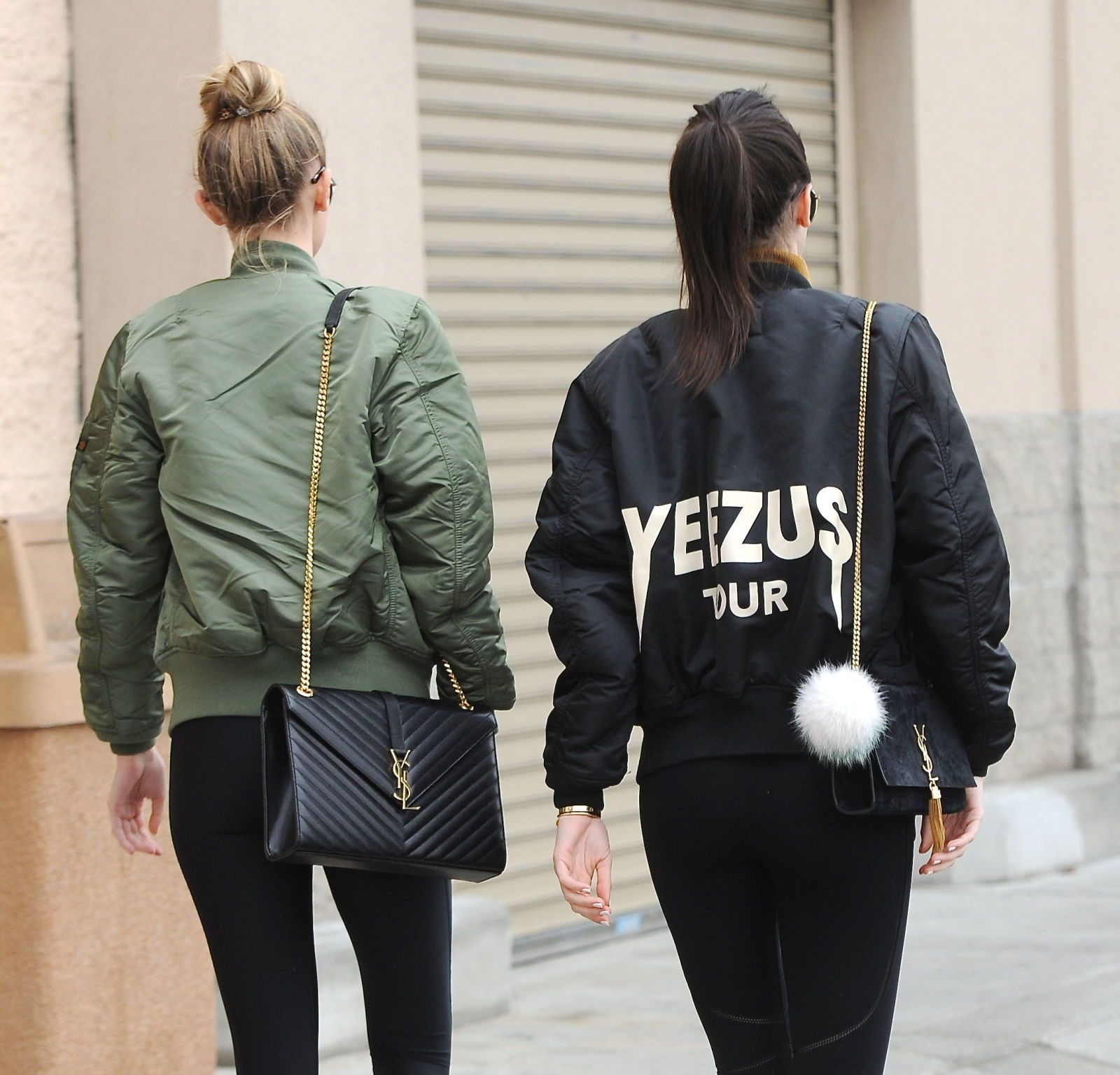 b43ebc29e12 Gigi Hadid and Kendall Jenner step out in matching bomber jackets and YSL  bags: