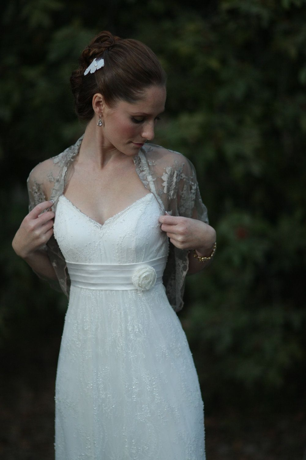 Rustic lace wedding dress  Bridal Shrug Taupe color metallic fabric Rustic wedding accessory