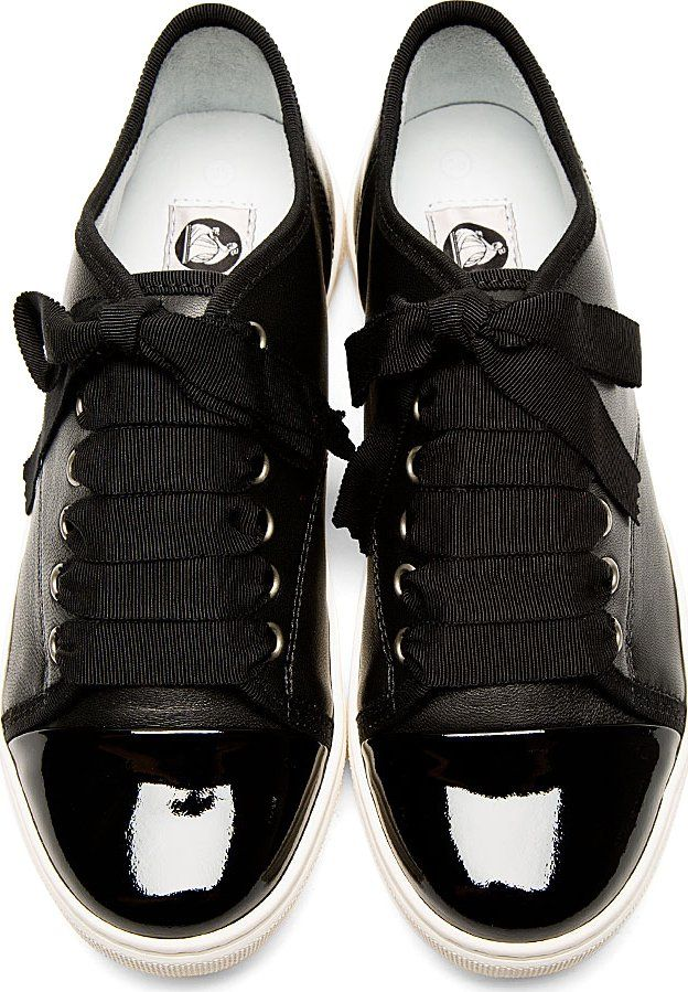 Lanvin: Black Leather Ribbon Laces Sneakers | SSENSE