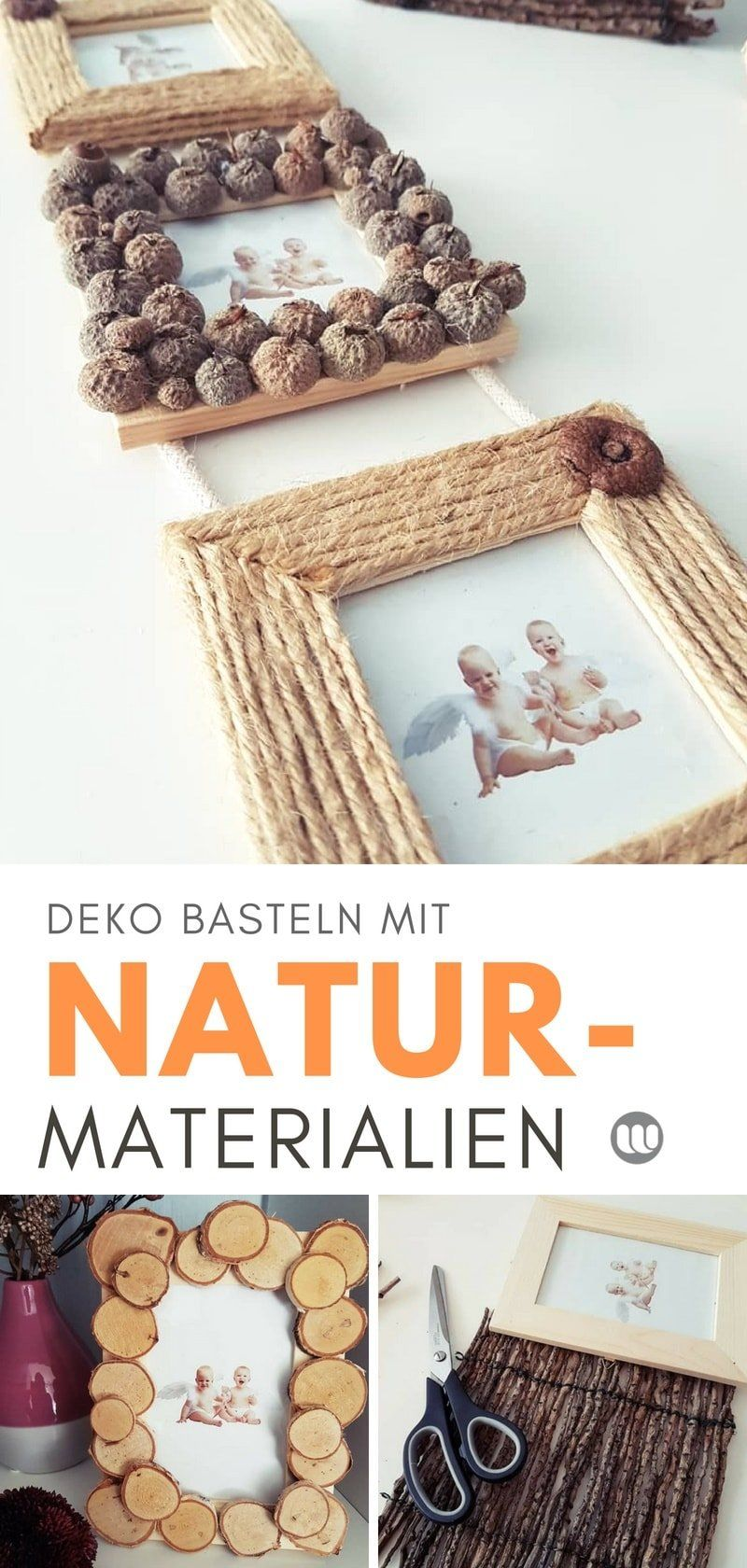 Bilderrahmen mit Naturmaterialien basteln im Herbst