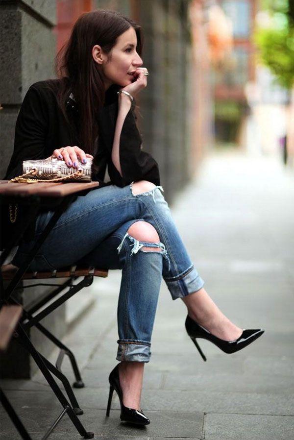69741cdf6 Hi-Lo We Love  Distressed Jeans   Heels