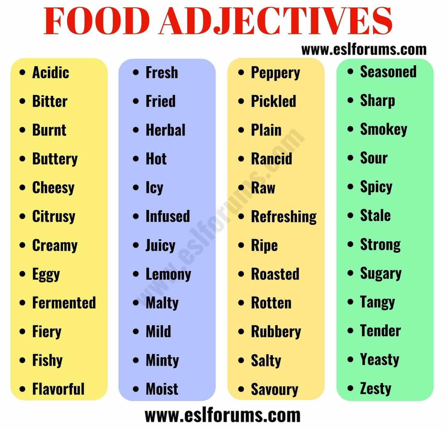 Food Adjectives 48 Useful Adjectives To Describe Food