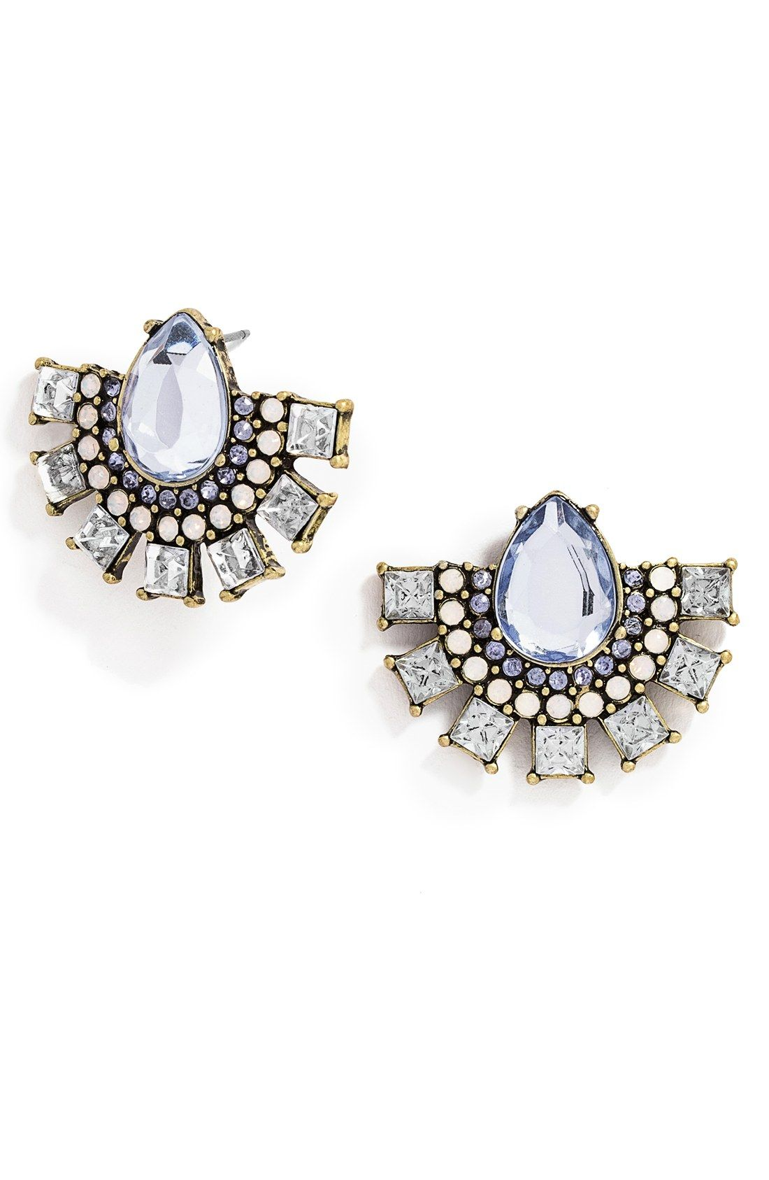 In Love With These Sparkly Blue And Clear Crystal Statement Stud Earrings