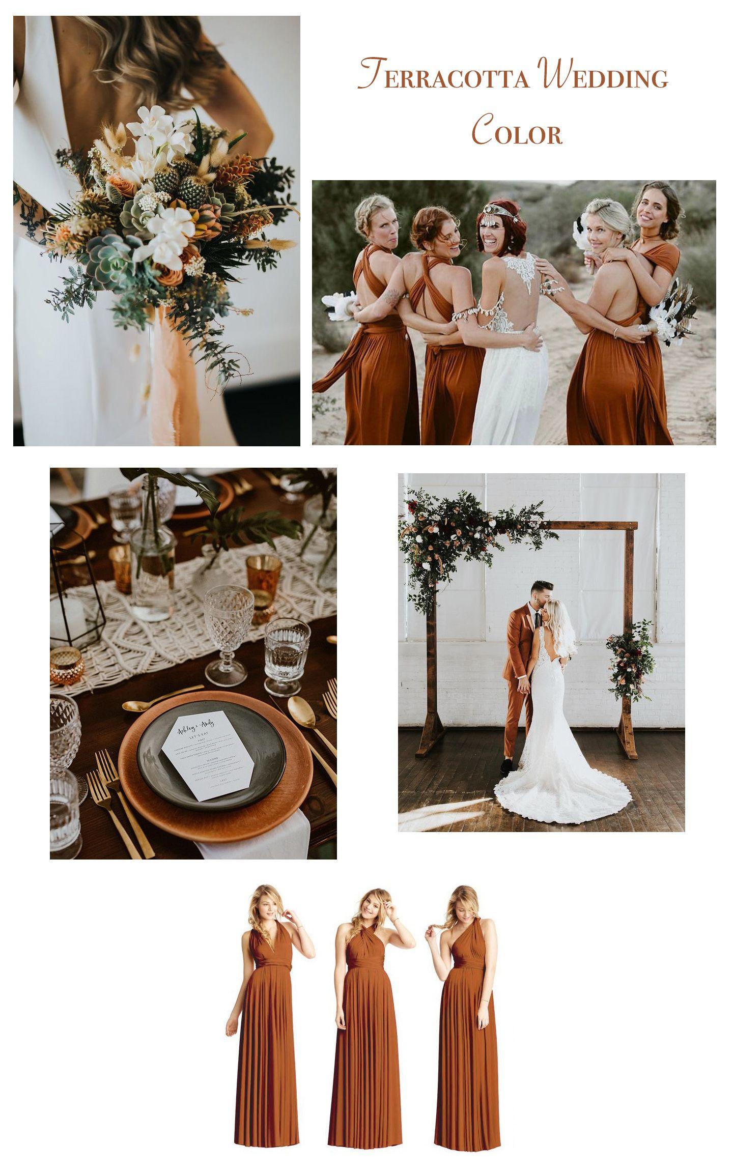 Maxi convertible dress terracotta in 2020 fall wedding