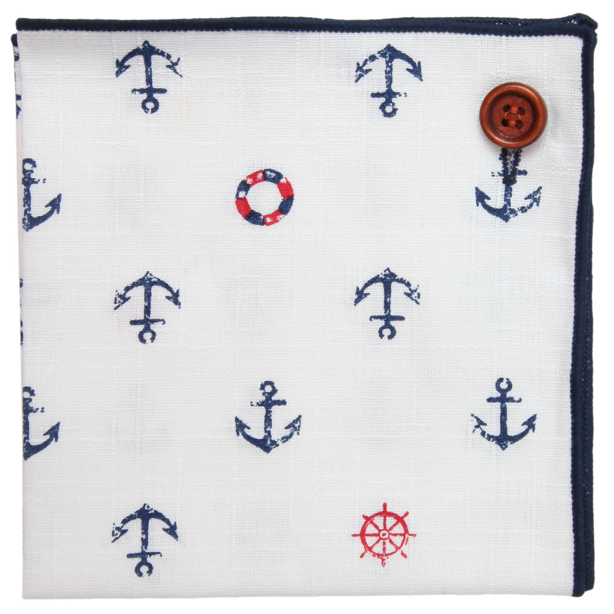 Puentes Denver Pocket Square 100% Cotton, White w Blue Trim, Nautical Button Collection