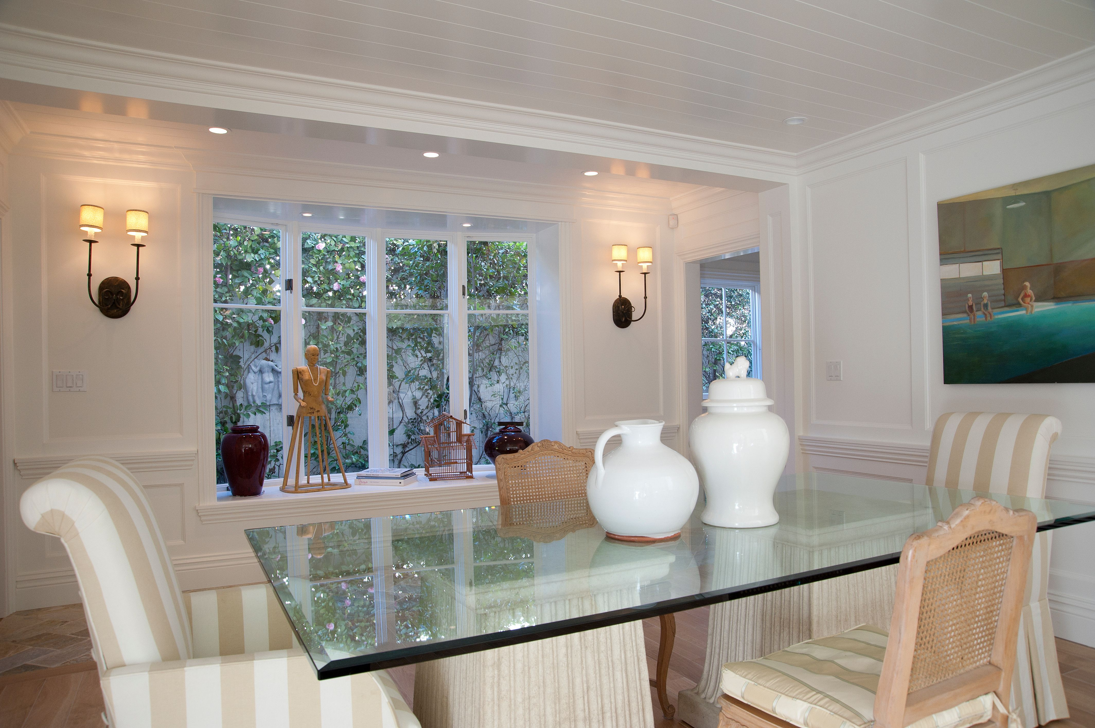 An alcove of windows in our dining room design.  Custom home, interiors, architecture, lifestyle creation by KellyBaron. http://www.kellybaron.com/home