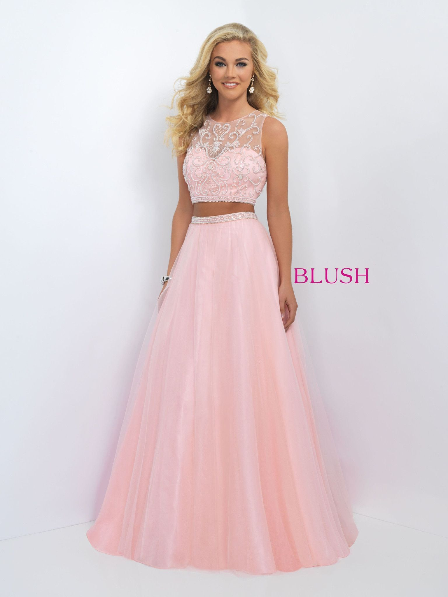 Full Tulle two piece that features a glittering vine like pattern of ...