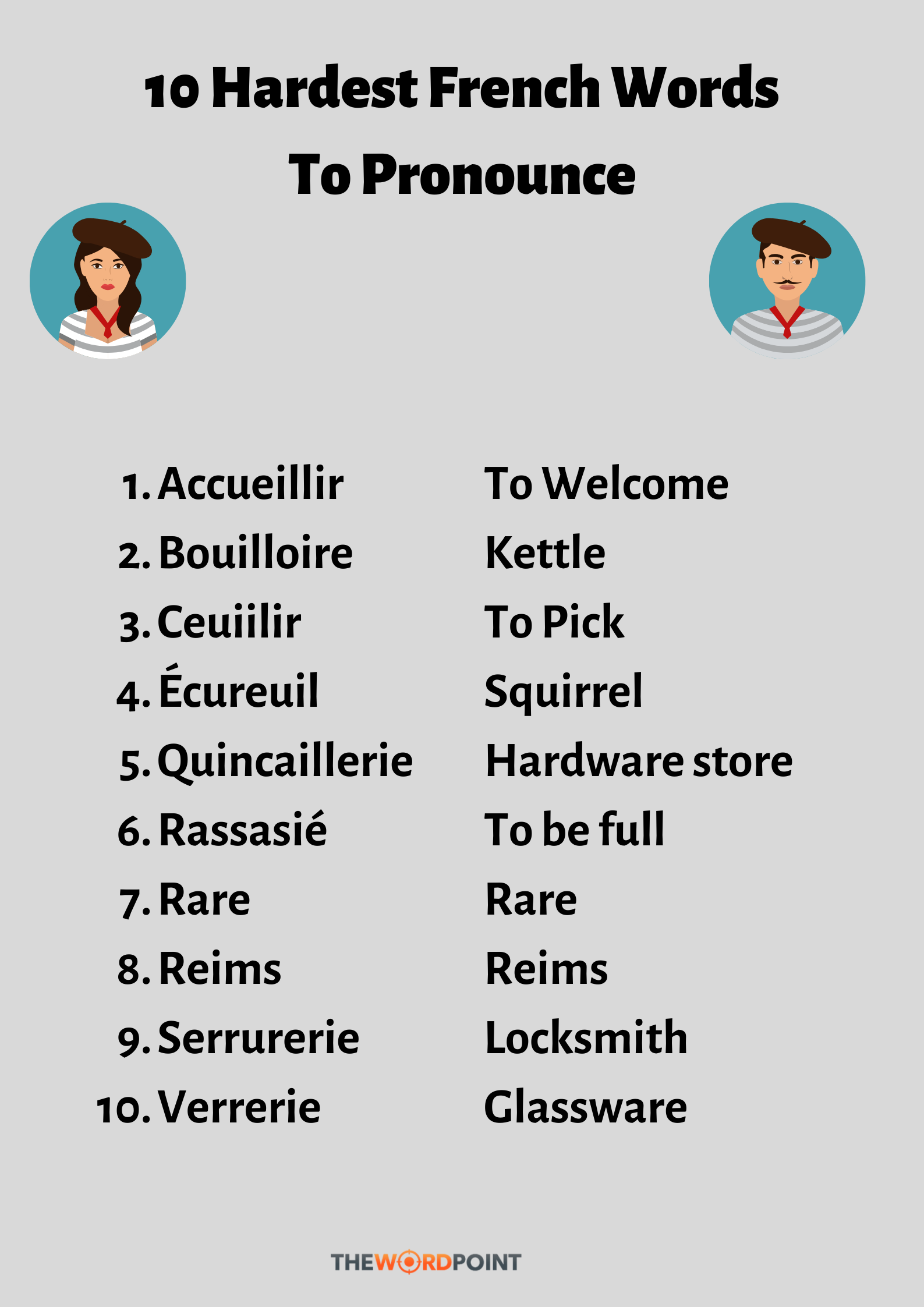Hardest French Words To Pronounce  Words, French words, Travel