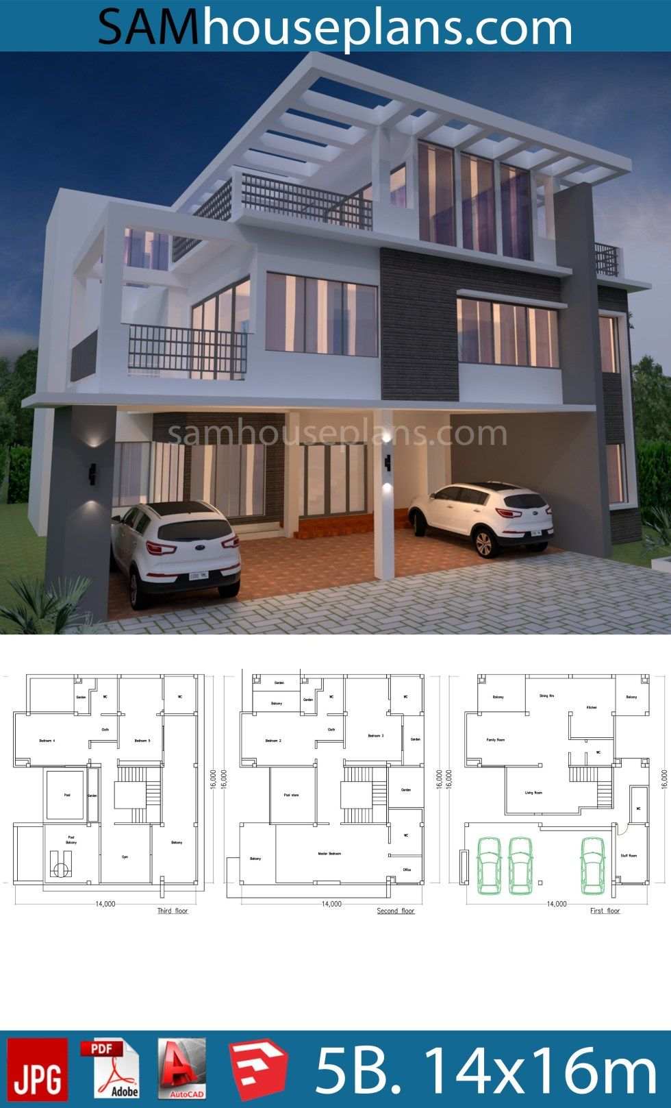House Plan 14x16m With 5 Bedrooms Sam House Plans Building Plans House Duplex House Design House Construction Plan