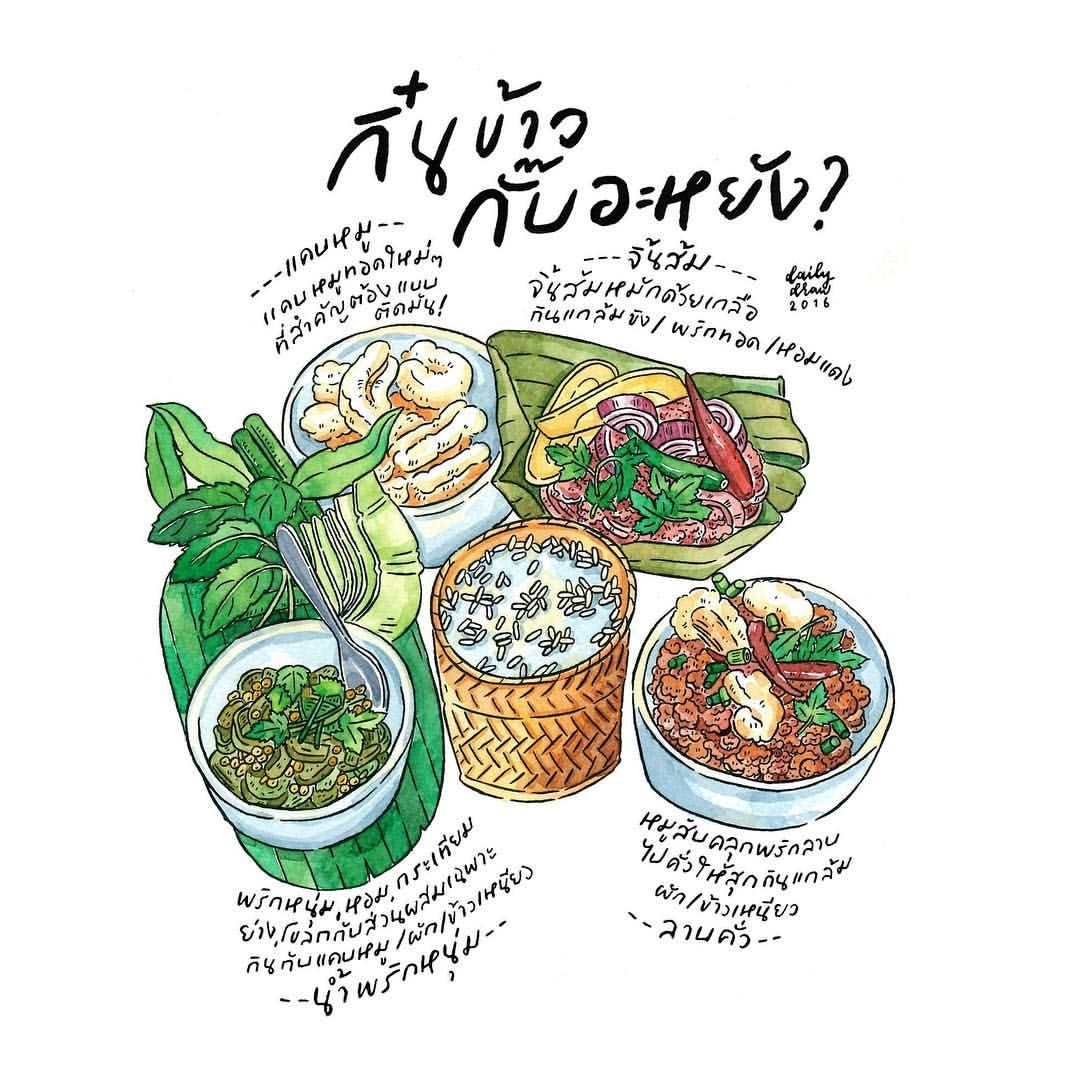 Northern-thai Food Platter #hunniffdoodle #draw #drawing #watercolour #tdacu2026 | FOOD|ILLUSTRATE ...