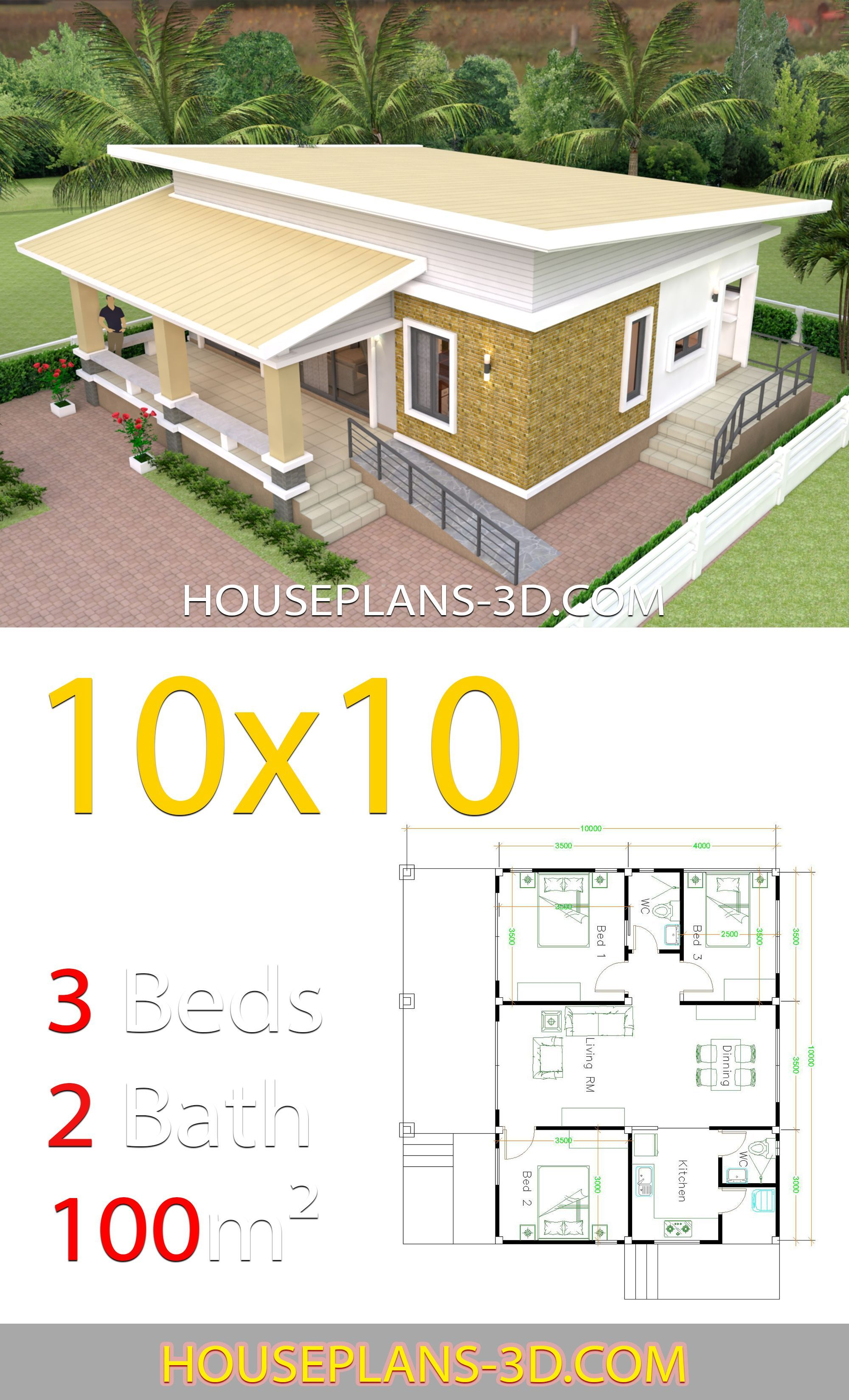 House Design 10x10 With 3 Bedrooms Full Interior House Plans 3d House Plan Gallery House Layouts House Plans