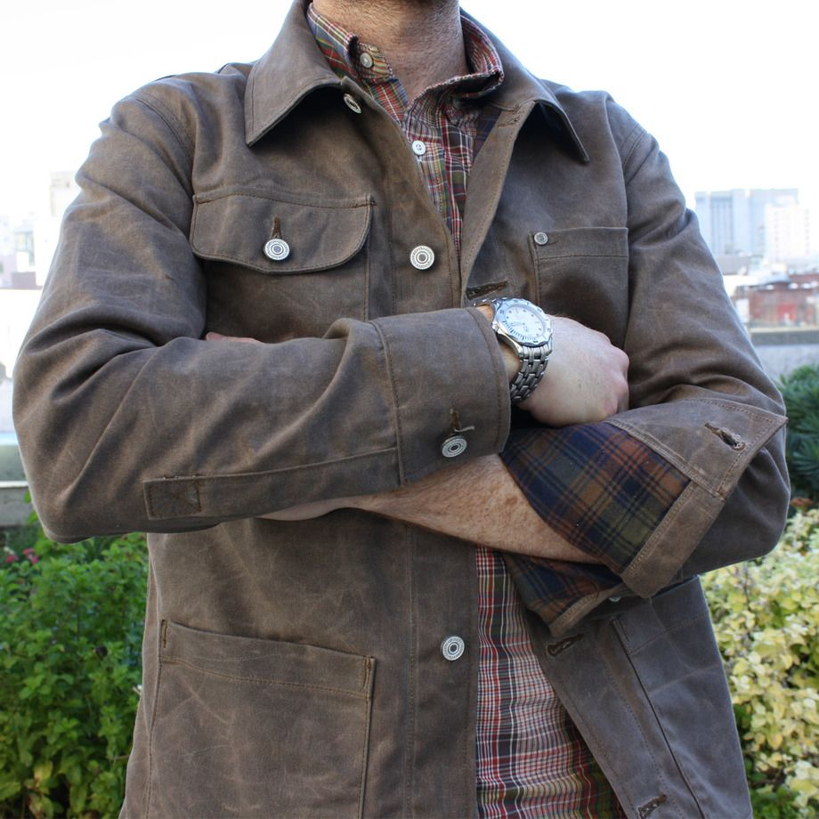 Gustin Waxed Dark Oak Canvas Chore Coat - Lined (Brown Ombre Flannel) $155