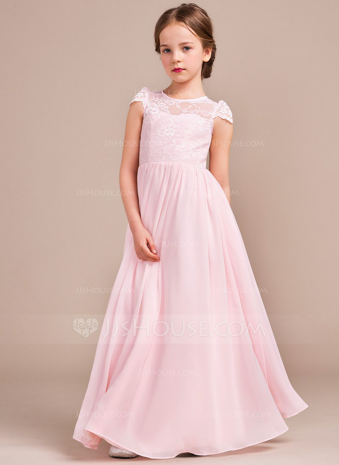 Dress for wedding party for girl  ALinePrincess Scoop Neck FloorLength Chiffon Lace Junior