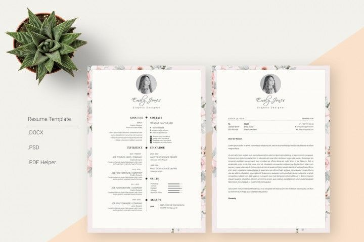Floral Pattern Resume TemplateCvCover Letter By ShowyTemplate