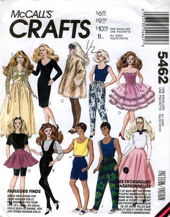 McCall\'s Crafts 5462 Fashion Clothes for 11.5\