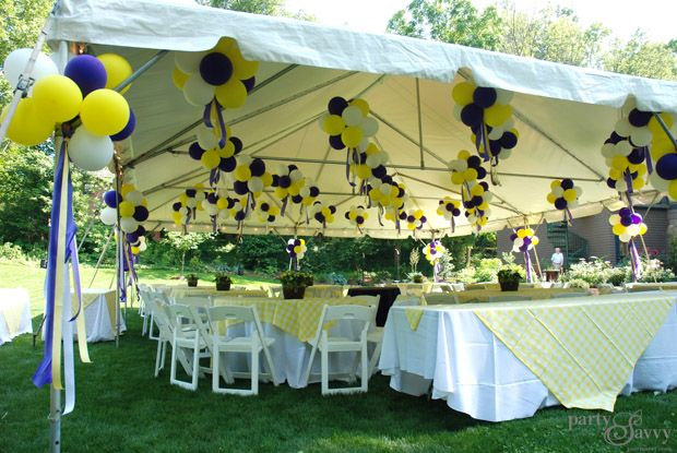 A purple gold graduation party outdoor graduation for Outdoor party tent decorating ideas