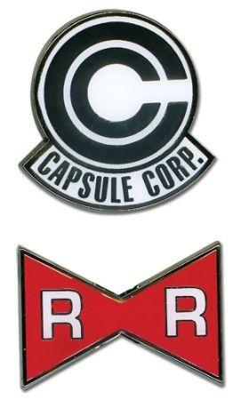 Dragon Ball Z Pin Set Capsule Corp And Red Ribbon Army Logos Dbz Ruban Rouge Goku