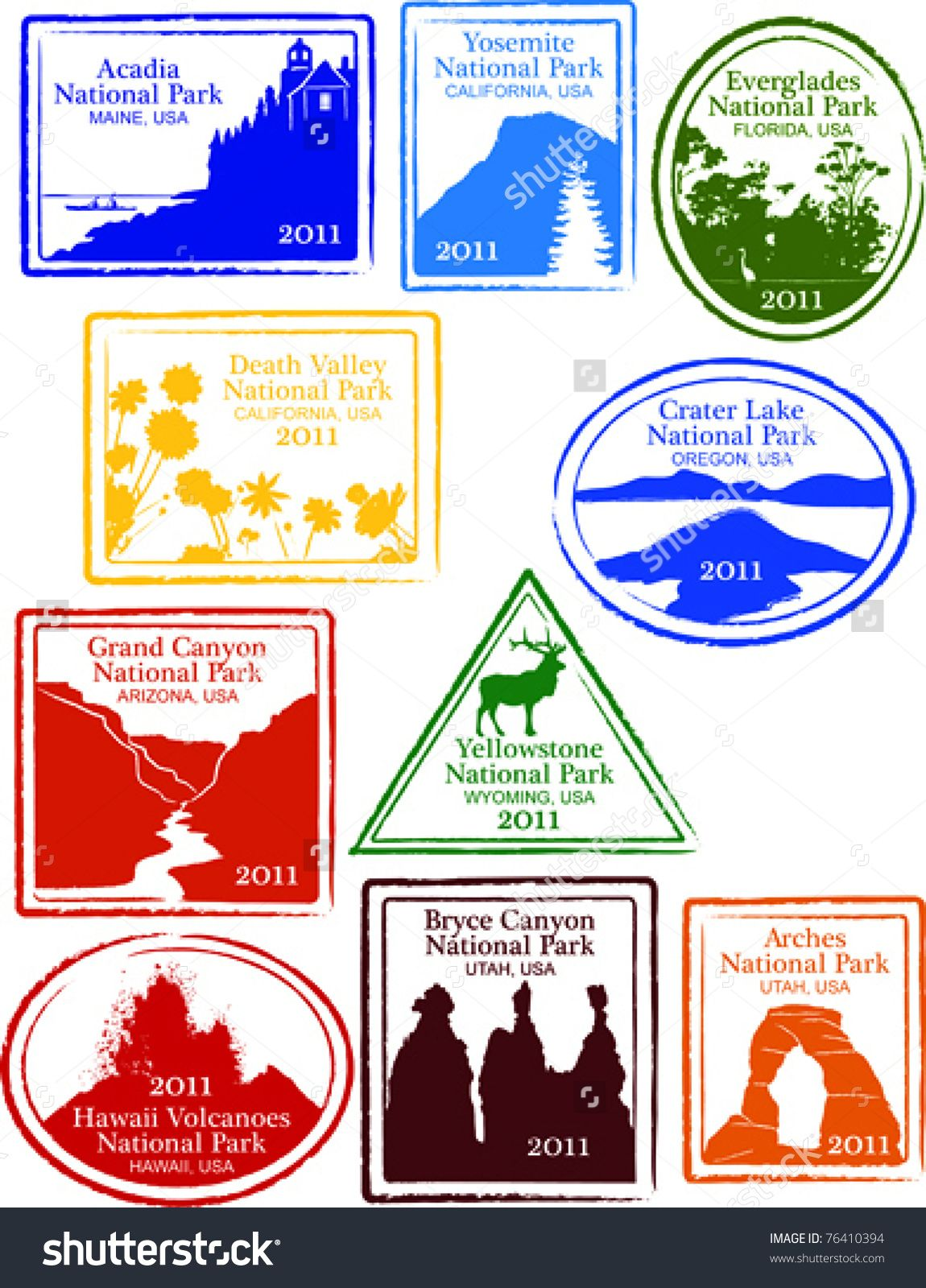 Retro Set Of Fun USA National Park Passport Stamps Vector Illustration
