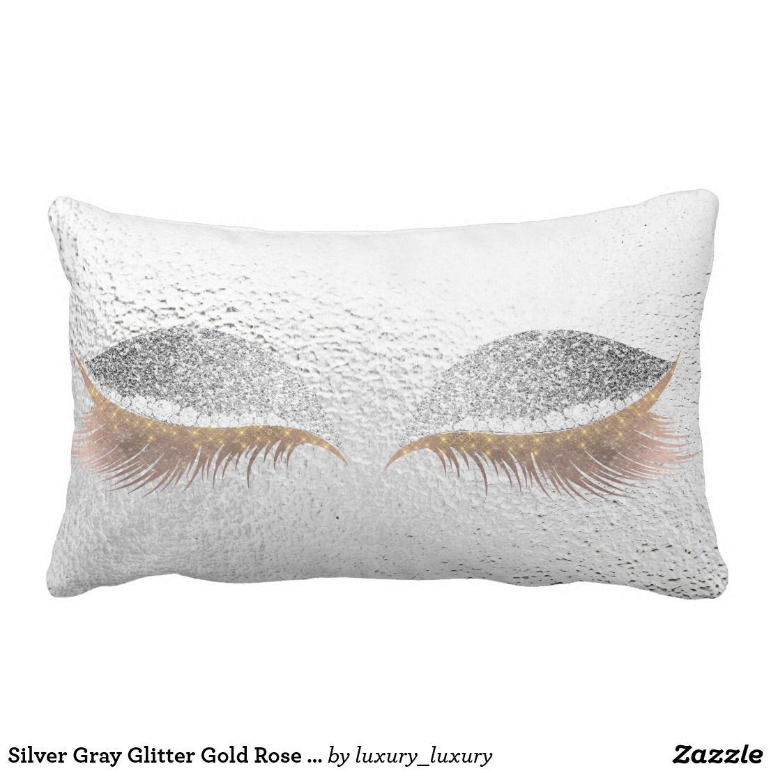 Silver Gray Glitter Gold Rose Glam Make Up Gray Lumbar Pillow