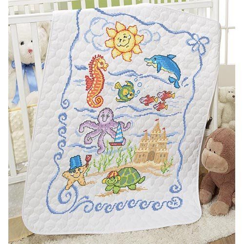 Baby by Herrschners Under the Sea Baby Quilt Stamped Cross-Stitch ... : cross stitch baby quilt - Adamdwight.com