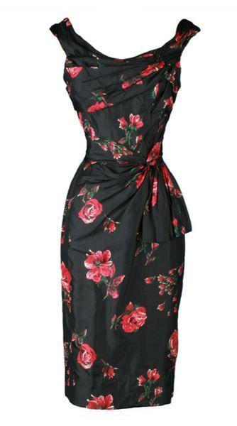 42503198921 Pinup Fashion  Vintage 1950 s floral silk bombshell dress