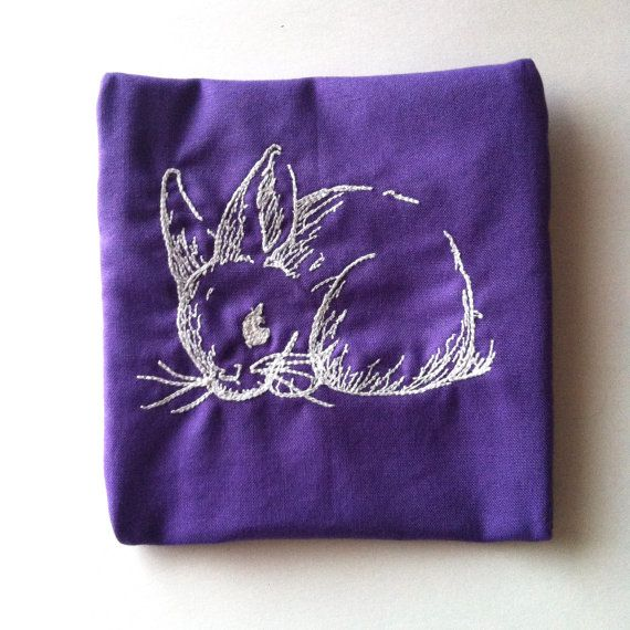 Purple Bunny Rabbit Embroidered Pouch
