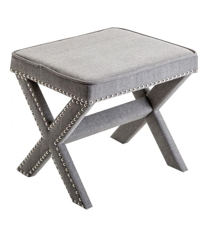 Comprar banqueta tapizada en gris con tachuelas de color - Banquetas para dormitorio ...
