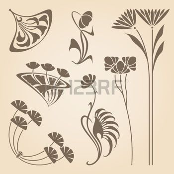 Art nouveau pattern vector set of vintage art nouveau for Art nouveau shapes