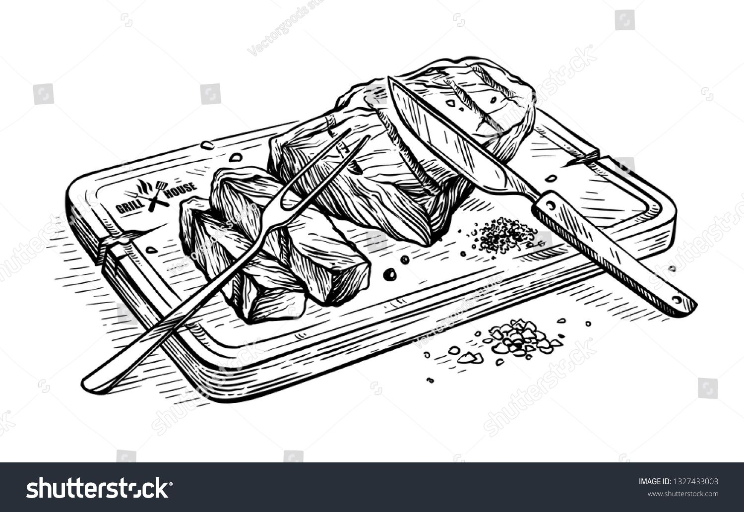 Sketch Hand Drawn Sliced Grilled Bull Steak Striploin On Wooden Board With Knife And Fork Vector Illustration How To Draw Hands Knife Drawing Avenger Artwork