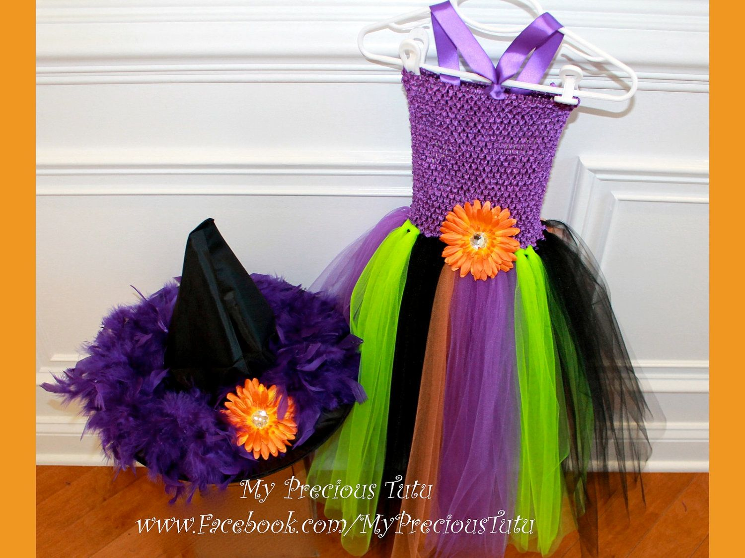 Halloween Witch Tutu Dress with Witch Hat from our great customer - My Precious Tutu.