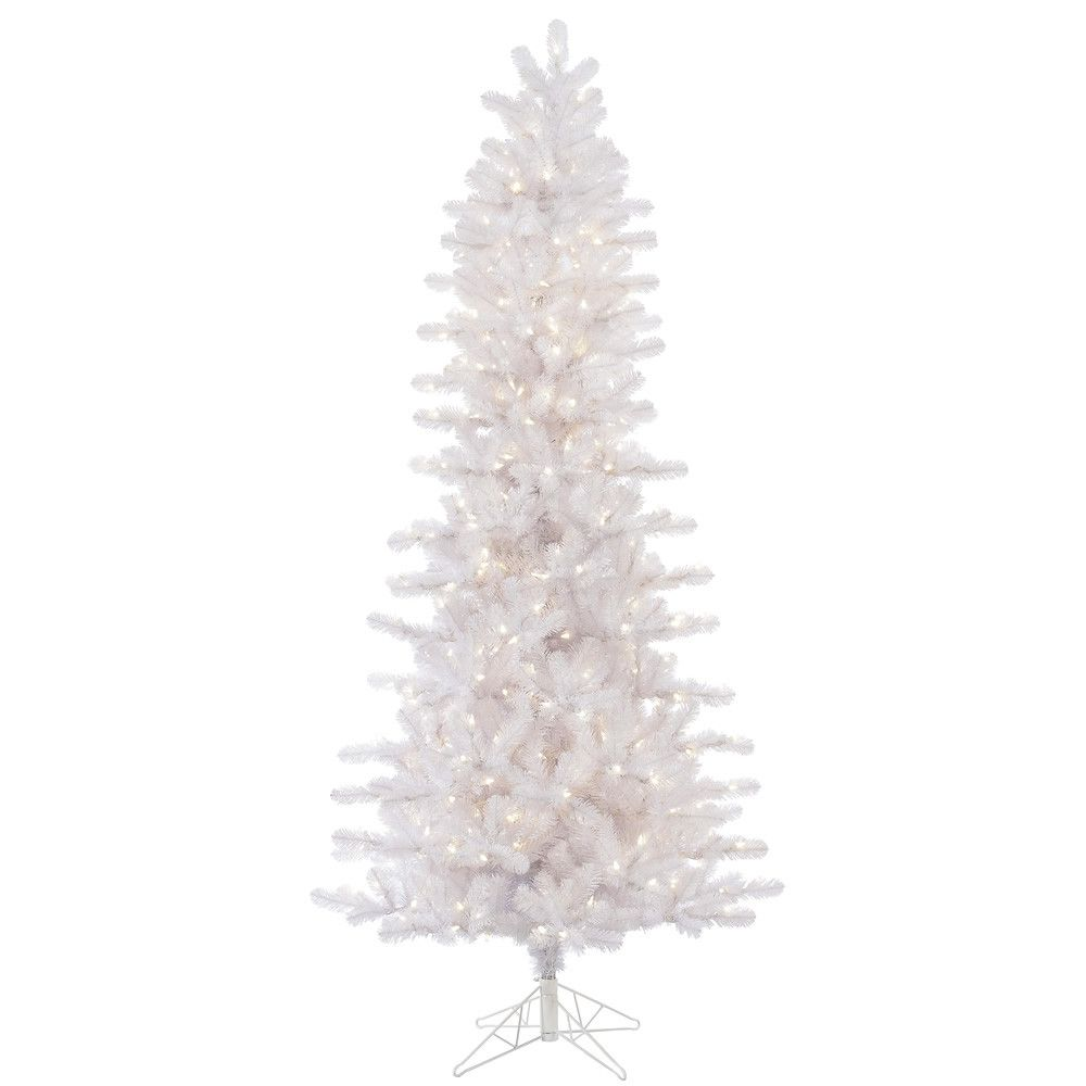 Slim white christmas tree with lights - Vickerman 8 5 Crystal White Pine Slim Artificial Christmas Tree With 650 Warm White Pine Led