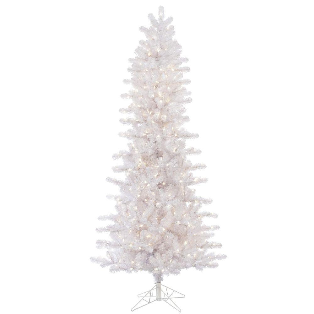 Vickerman 8 5 Crystal White Pine Slim Artificial Christmas Tree With 650 Warm Led