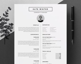 Minimalist Resume Template 5 Page Resume Template  Cv Template Pack  Cover Letter For Word