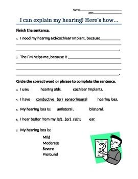 I Can Explain My Hearing Loss! self-advocacy worksheet | Teaching ...