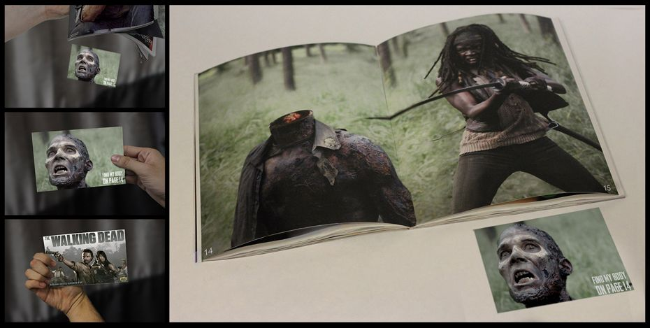 Magazine insert and spread for the Walking Dead. SDPS student Christian Capuchino