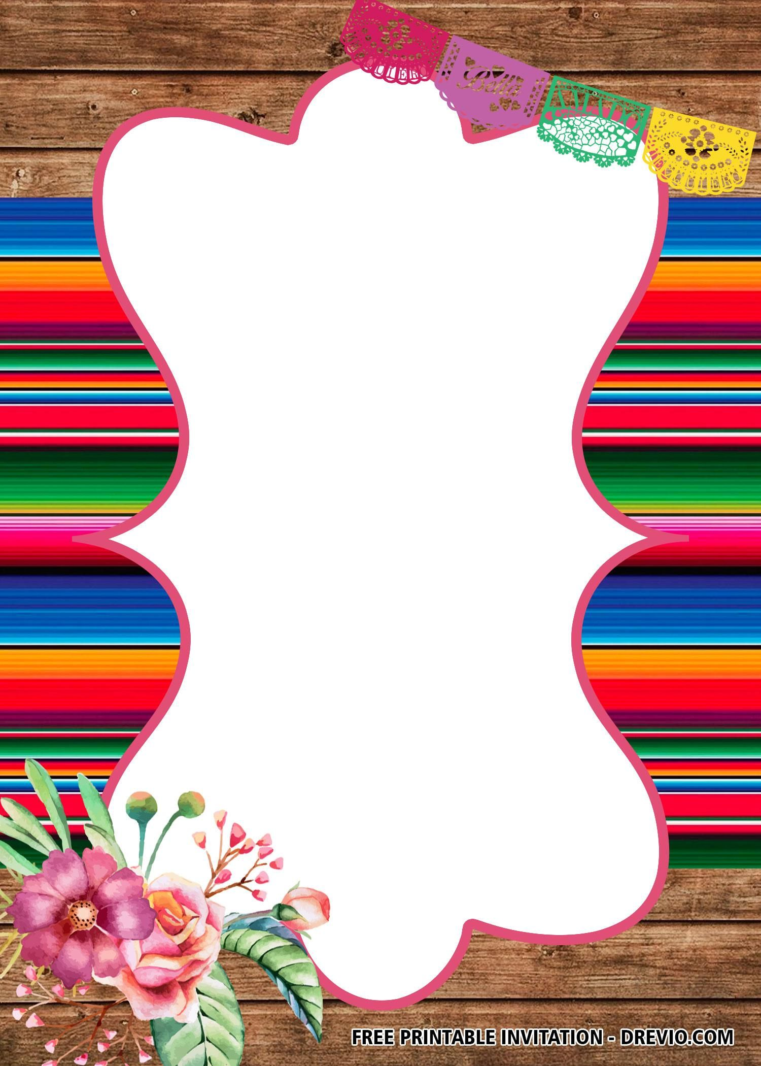 10 Mexican Invitation Template In 2020 Free Printable Birthday Invitations Mexican Invitations Fiesta Baby Shower Invitations