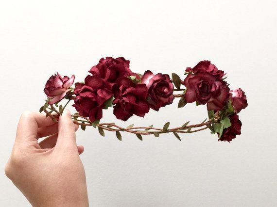 Autumn Rose Flower Crown Headband Purple Burgundy By Abbeysblooms