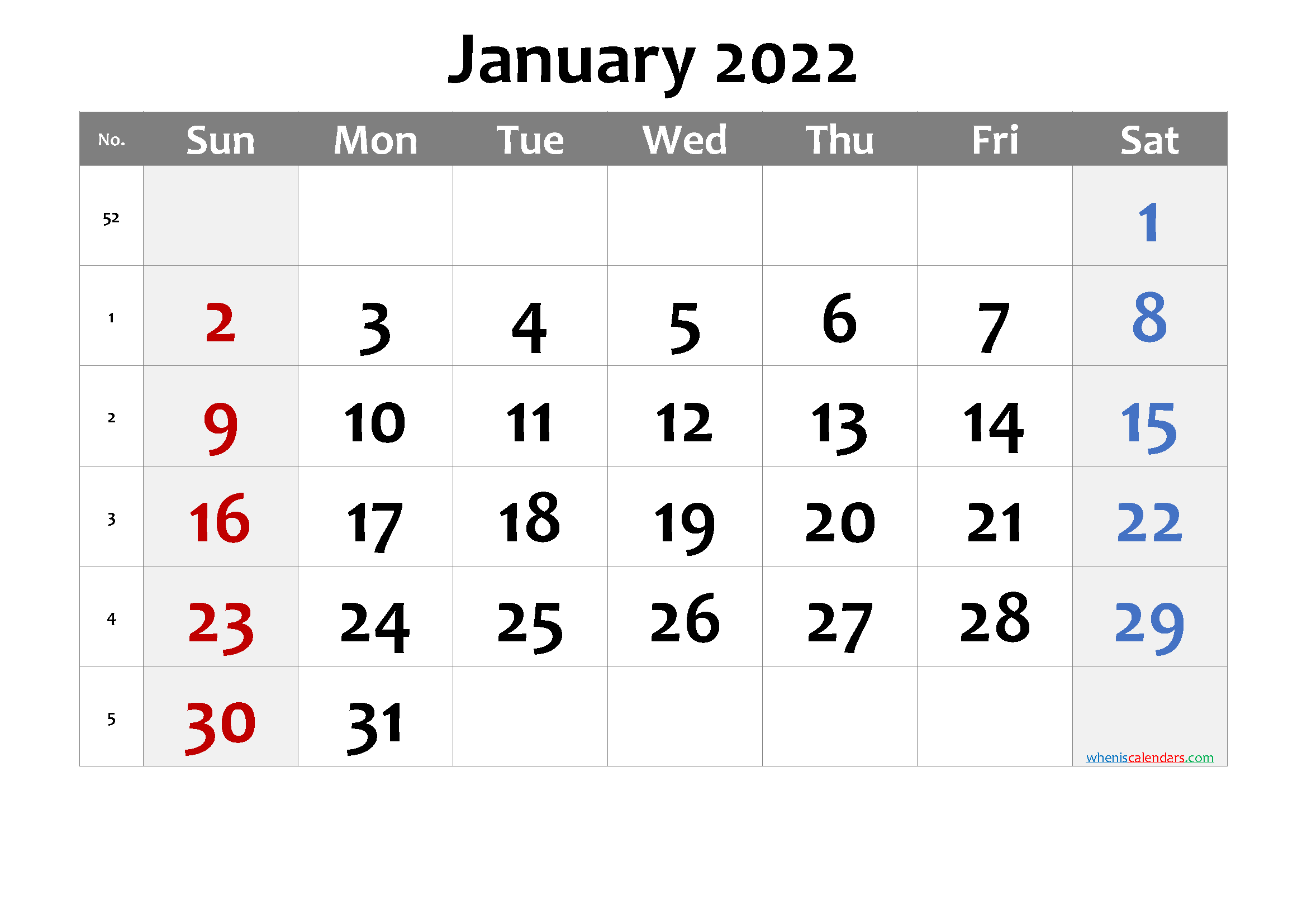 Printable Calendar January 2022 - 6 Templates in 2020 ...