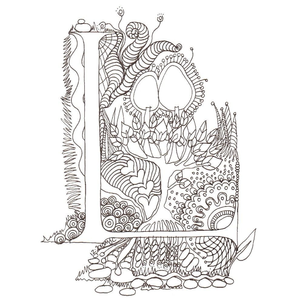 Zentangle Illuminated L | zia | Pinterest | Letras, Zentangle y ...