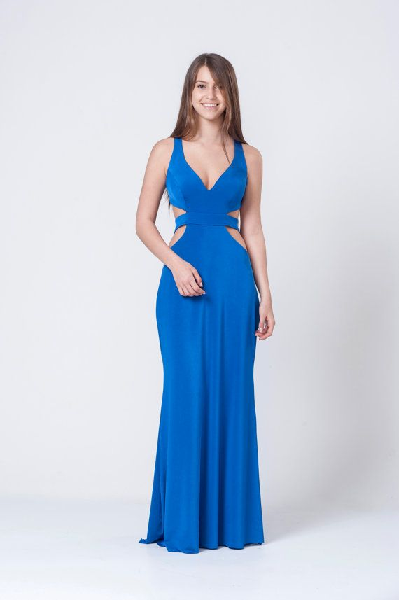 Long Royal Blue Prom Dress, Maxi Side Cut Outs Dress, Evening Party ...