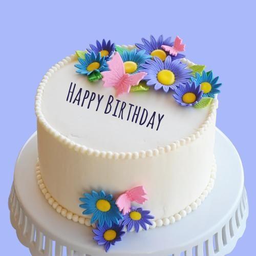 Happy Birthday Sunflower Toppings Round Cake With Name | gungun