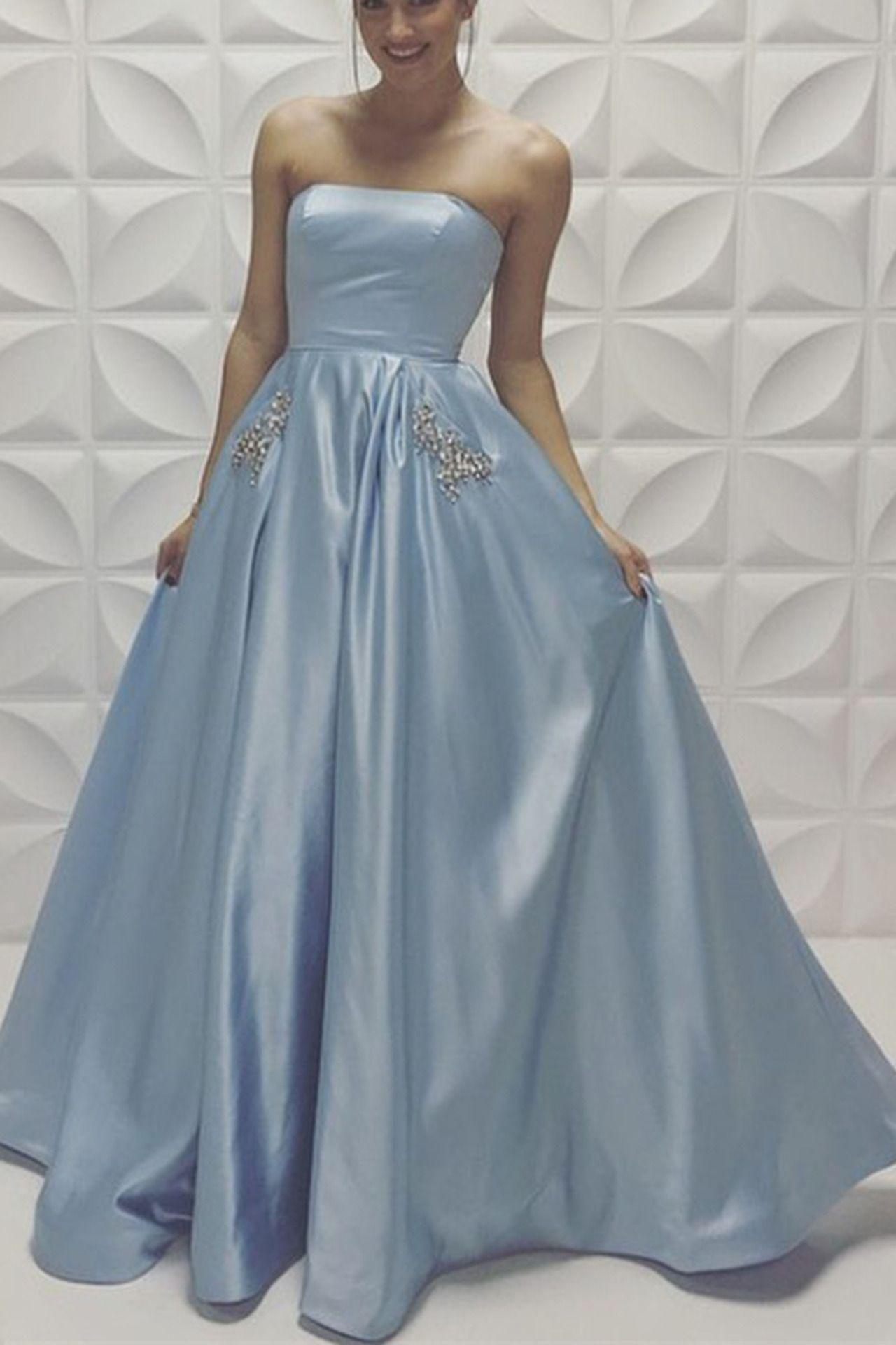 Light blue satin long prom dress for teens prom dresses